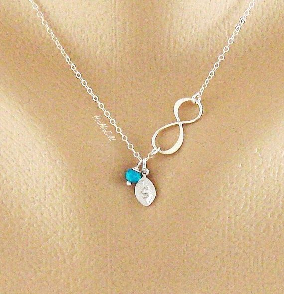 Infinity Necklace Tiny Birthstone Charms Monogram by hotmixcold, $31.00