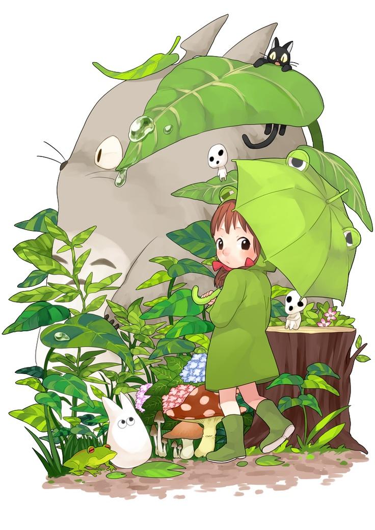 伞也跟着萌起来了,元素很多啊_嗨 .夕子: Studio Ghibli, Animal Cartoon Gam Art, Not Them Miyazaki, Neighbour Totoro, Illustration, Manga, My Neighbor Totoro, Studios Ghibli, Drawings Design
