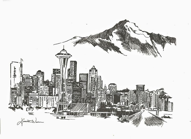 seattle skyline drawings Art Stall Gallery