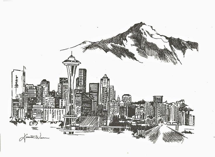 Seattle Skyline Drawings Art Stall Gallery Doodles