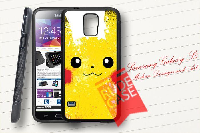 Samsung Galaxy S5 Custom Pokemon PIKACHU Lightening Yellow Rubber Case