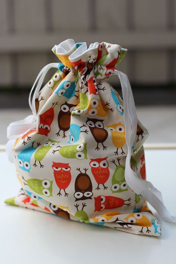 Drawstring Bag for Kids  Bright Owls on Cream by raenne on Etsy, $15.00