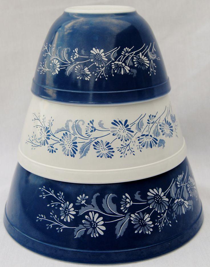 Pyrex Colonial Mist Nesting Bowls. $32.00, via Etsy.