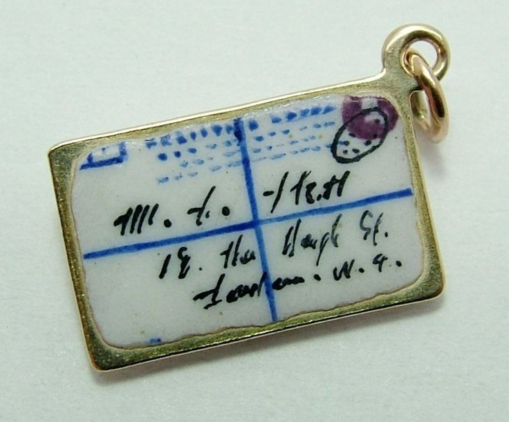 Edwardian c1910 9ct Gold & Enamel Letter Charm - Gold Charm - Sandy's Vintage Charms - 1