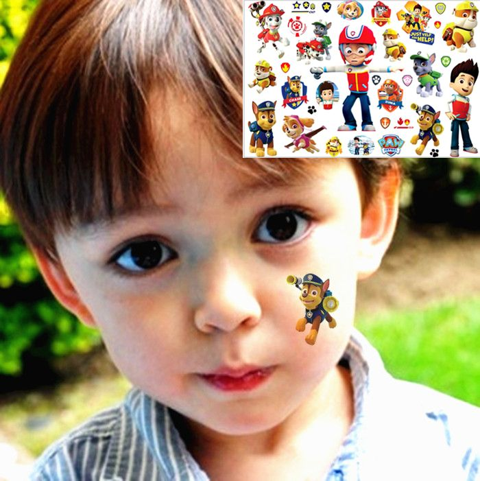 25 style Child Temporary Tattoo Body Art,The Puppy Rescue Team Designs, Flash Tattoo Sticker Keep 3-5 days 17*10cm