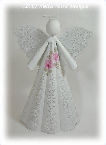 Romantic Rose Christmas Angel - Large  $24.99  Available at www.bellarosadesigns.com