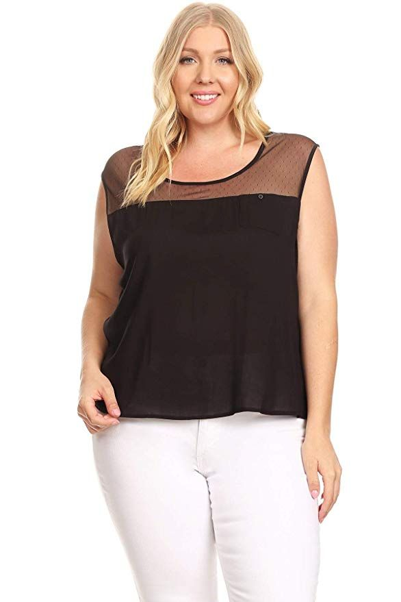 3047685f4 $18 Women's Plus Size Tunic Tank Top T-Shirt Multi-Fabric Sleeveless Top in  A Relaxed Fit ( Black)