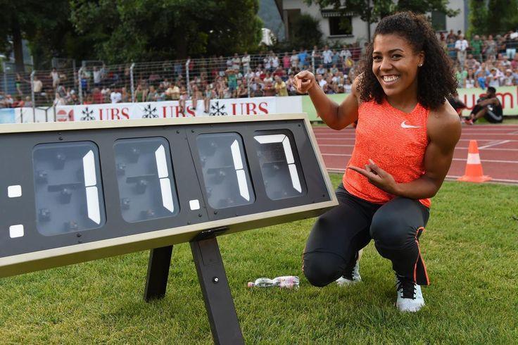 21.07 La sprinteuse bernoise Mujinga Kambundji a battu mardi son propre record de Suisse du 100m féminin à l'occasion du meeting international de Bellinzone (TI).Photo: Keystone