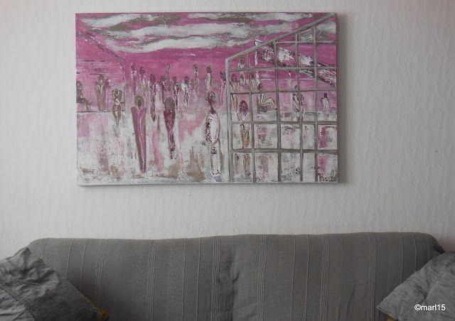 Kom binnen in de Kunstgalerie van Marl.Decoratieve schilderijen: 15-182 Refugee Camp Vluchtelingenkamp