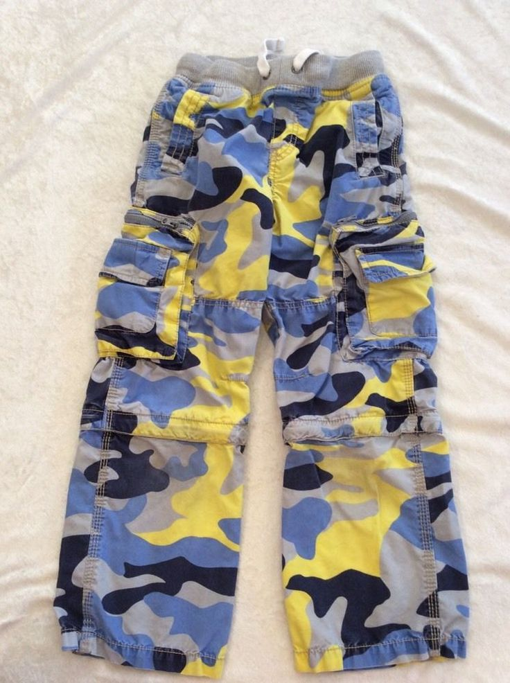 Mini Boden 9y Zip Off Cargo Pants Blue Yellow Camo Soft