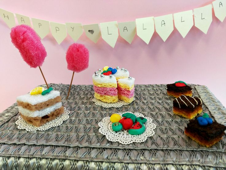 Sponge cake and cotton candy, clay fruits. Lovely candy bar for your La Lalla doll. Sweet doll party.