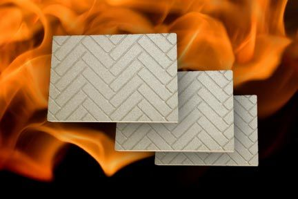 Our Herringbone design vermiculite boards will look great in your fireplace and save you a bundle with a more efficient way to heat your home. www.neuex.com #herringbone #fireplace #panels