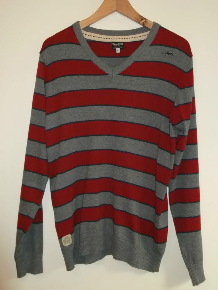 JACK AND JONES VINTAGE Clothing Men s Size Large Red/Grey Striped Sweater Jumper