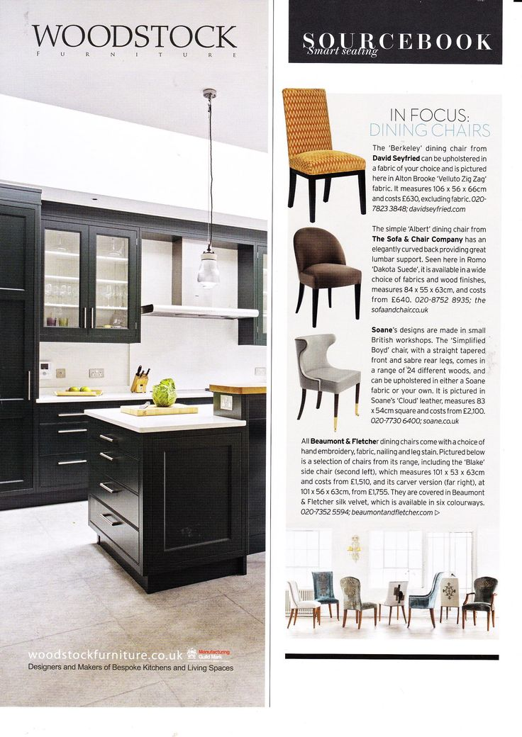 Beaumont & Fletcher dining chairs featured in the October 2016 issue of House & Garden.