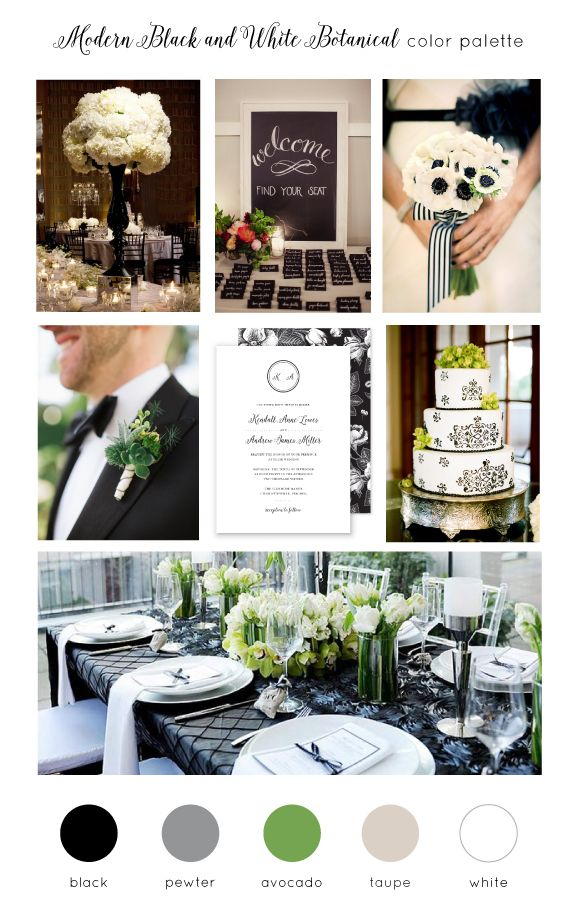 現代の黒、白、植物の結婚式のカラーパレット