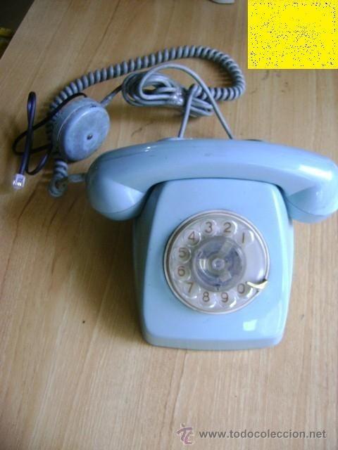 TELÉFONO DE DISCO HERALDO DE SOBREMESA TELEFÓNICA COLOR AZUL PASTEL FUNCIONANDO. CITESA, AÑOS 70 (Teléfonos - Teléfonos Antiguos)