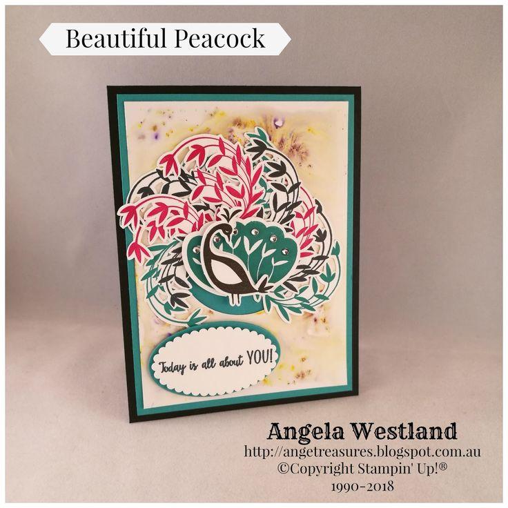 #beautifulpeacock #brushocrystals #background #peacock #fussycutting #layeringcircles #layeringovals #jewelsrhinestones #handmadecards #angelawestland