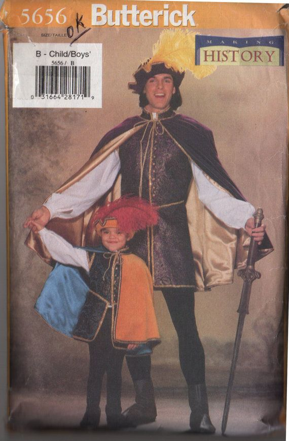 Childrens/Boys Renaissance Period Costumes, Butterick 5656. Includes Childrens Sizes XS, S, M, L, XL--perfect for Halloween, Renaissance Faire, SCA, etc. See back of envelope for measurements and fabric needed.  This pattern is in very good used condition. All pieces are present. A few of the pieces have been carefully cut out. Convo me if you have questions.  Watch for more sewing items including books, patterns, pattern company handouts, Cooperative Extension and 4-H sewing guides…