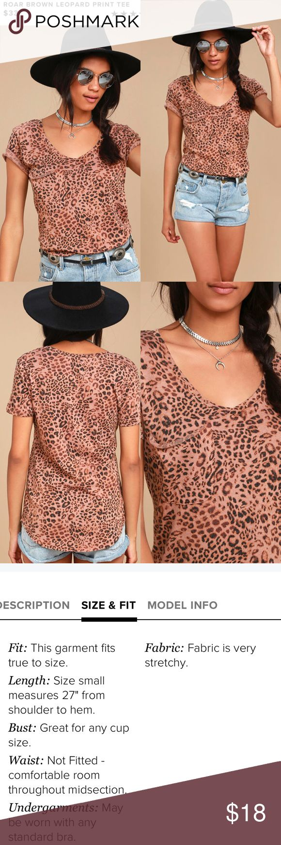 Brown Leopard Print Tee You'll be the queen of the jungle with the Roar Brown Leopard Print Tee! Soft cotton-blend knit has a classic leopard print and worn-in look across short sleeves and a V-neckline. Slouchy patch pocket accents the relaxed bodice with rounded hem. Unlined. 52% Cotton, 40% Polyester, 8% Rayon. Machine Wash Cold. Imported. Z Supply Tops