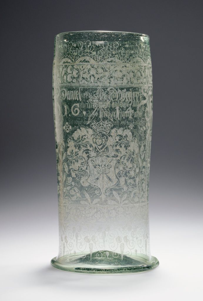 Large Beaker (Humpen); Unknown; Bohemia, Czech Republic; 1614; Free-blown colorless (pale blue-green) glass with diamond-point engraving; 26.4 cm (10 3/8 in.); 84.DK.560; J. Paul Getty Museum, Los Angeles, California