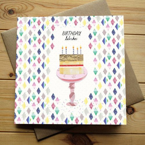 BIRTHDAY WISHES CAKE - Greeting Card by Lianne Harrison for Paperwhale Cards - www.lianneillustrates.etsy.com