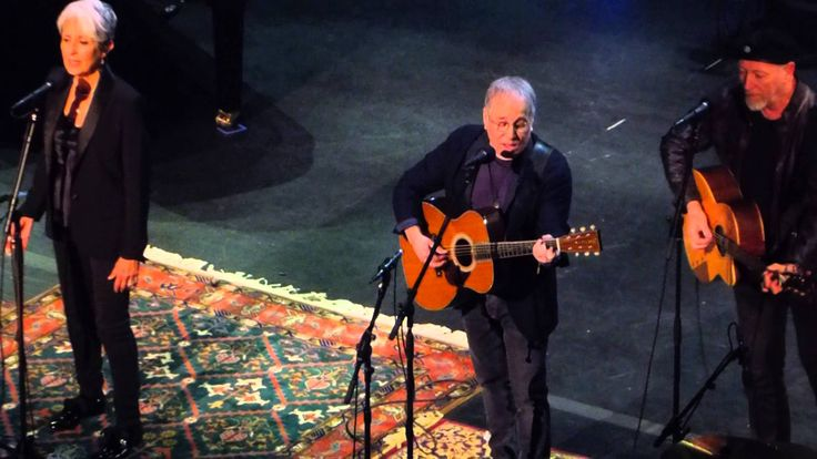 """Joan Baez, Paul Simon and Richard Thompson sing """"The Boxer""""at Joan Baez 75th Birthday Concert at the Beacon Theater on January 27,2016."""
