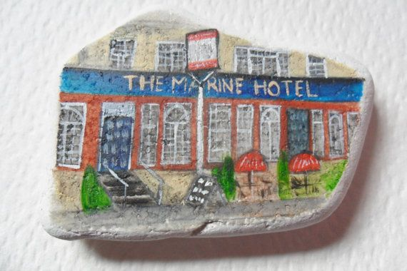 Reserved for VICKI The Marine Hotel, Whitstable - Acrylic miniature painting on English beach pottery