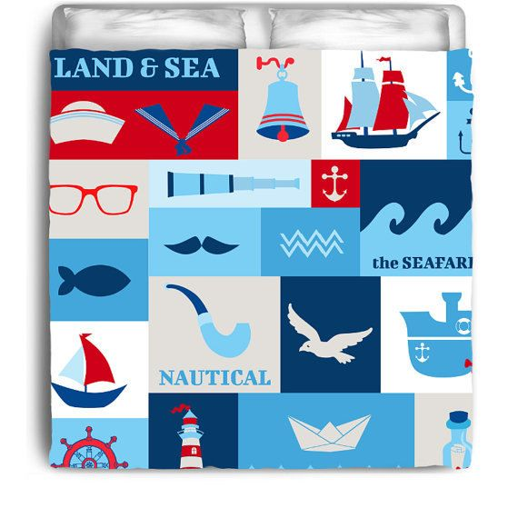 Nautical Duvet Cover -Land and Sea Kids Nautical Duvet Cover by NauticalBedding on Etsy