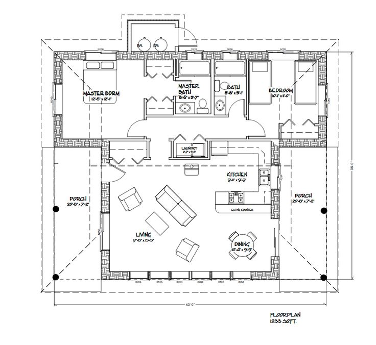 1233 sq ft straw bale houseplan with 2 bedrooms 2 bath for Small straw bale house plans