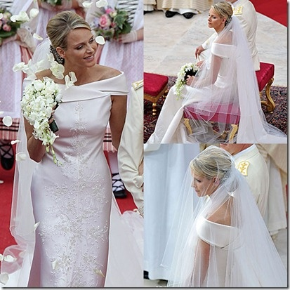 Hair (low chignon & modest height) AND the neckline... love the off-the-shoulder look