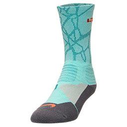 Men's Nike LeBron Hyper Elite Basketball Crew Socks - Large | Finish Line | Hyper Turquoise/Hyper Crimson