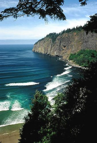 https://flic.kr/p/5VqG1L   Cape Lookout, Oregon   Cape Lookout is the terminus of one of the ancient Columbia River lava flows. At its base the headland is about 900 feet high. From a 35 mm slide.