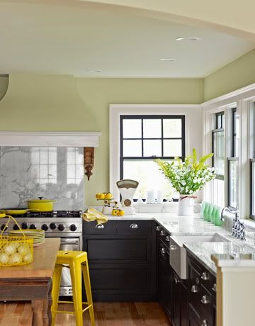 Dark cupboards: Wall Colors, Kitchens Colors, Green Wall, Dark Cabinets, Black Cabinets, Kitchens Ideas, Black Windows, Yellow Accent, Yellow Kitchens