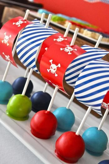 Pirate Party -- pirate ship cake pops.  cute idea!