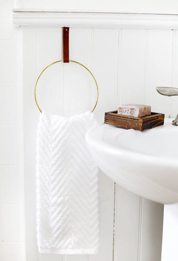 Simple Brass And Leather Towel Ring Perfect For A Modern Minimal Bathroom 6 Brass Coated Ring To Modern Bathroom Decor Bathroom Towel Bar Hand Towel Holder