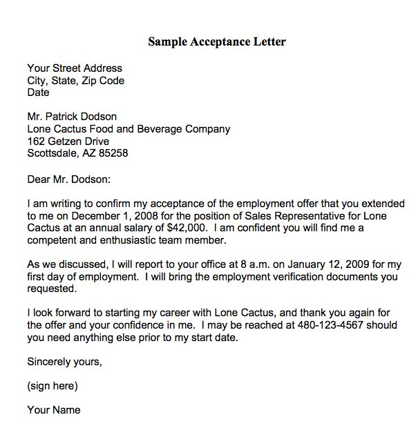 10 best Decline Letters images on Pinterest Cover letter sample - sample job acceptance letter