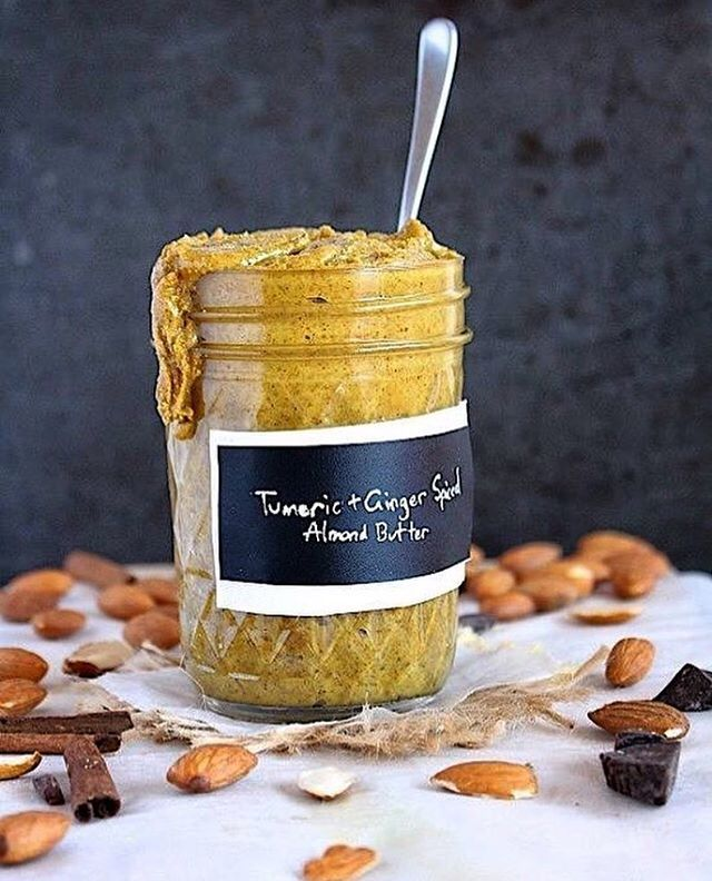 Anyone care to join us in diving head first into a vat of the awesomeness that is this turmeric & ginger spiced almond butter!? #Recipe link in bio from @emsswanston!