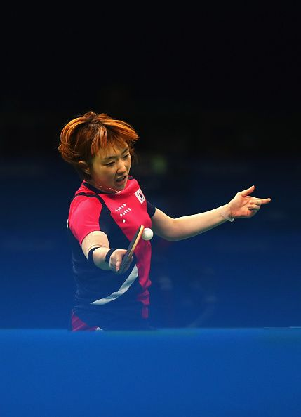 Hyowon Suh of Korea plays a foreahnd during the Table Tennis Women's Team…