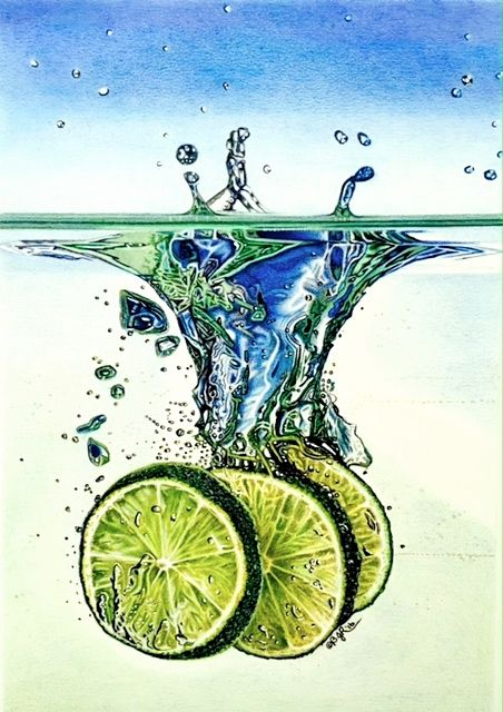 Taking The Plunge - Limeade. Drawn with colored pencils, 9x12inches.
