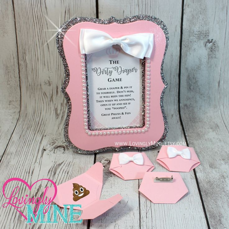 Dirty Diaper Game Baby Pink Silver Diaper with Matching Silver & Pink Pearl Glitter Frame - Baby Shower Games by LovinglyMine on Etsy