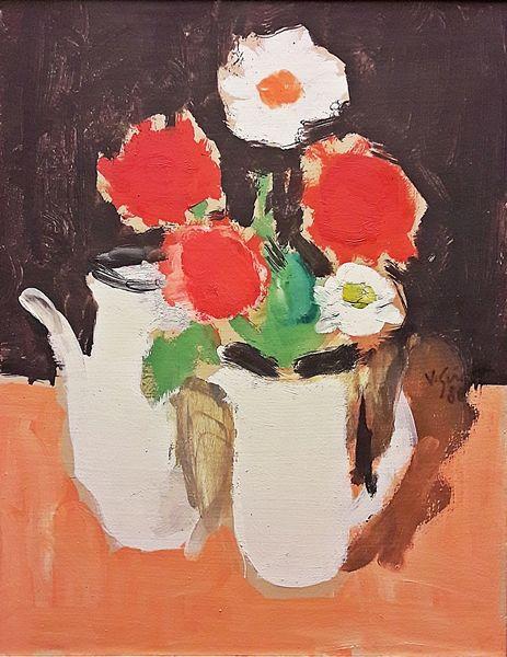 Grigore Vasile (1935 - 2012) Flori și ceanic alb / Flowers and white kettle