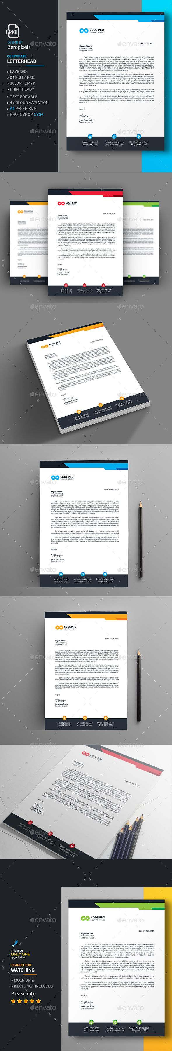 Letterhead Design Template - Stationery Print Template PSD. Download here: http://graphicriver.net/item/letterhead/16728356?s_rank=76&ref=yinkira