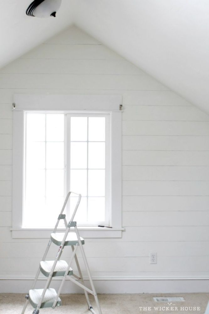 Draw lines with pencil on white wall to look like Fake+Planks. Thinking of doing this behind pellet stove then use wood graining tool and grey paint for added texture