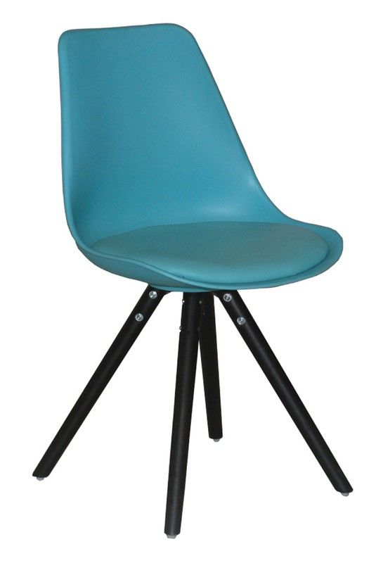 Woody Spisebordsstol - Funky moderne blå spisebordsstol i plast med sæde i kunstlæder samt elegante ben i sort. Spisebordsstolens skalform og polstrede sæde sørger for optimal siddekomfort. Anvend spisebordsstolen i den moderne spisestue.