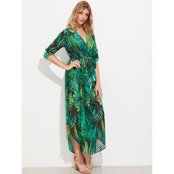 SheIn(sheinside) Allover Palm Leaf Print Curved Hem Shirt Dress ($23) ❤ liked on Polyvore featuring dresses, long sleeve shirt dress, green maxi dress, maxi shirt dresses, long sleeve maxi dress and t-shirt dresses