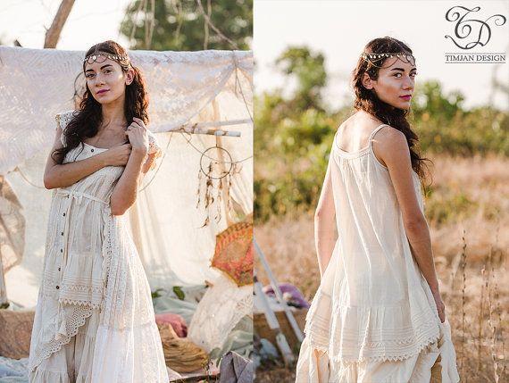 PEARL TUNIC DRESS - Hippie Boho Bohemian Romantic Casual Slip Night Gown Lingerie Plus size Lagenlook Mori Kawaii - Off white Cream