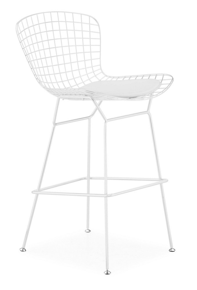 Zuo Modern Wire Barstool in White - 188017 (Set of 2) - $238.00