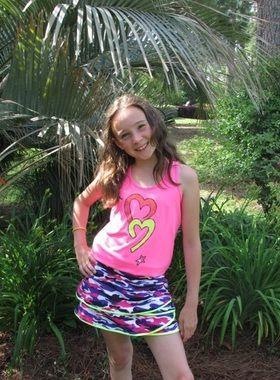 Lucky in Love Junior Girls Tennis Outfits (Tank & Skort) – Shocking Pink & Grape