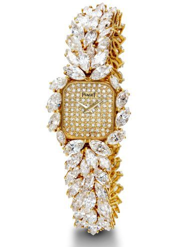 High jewellery yellow gold watch set with diamonds