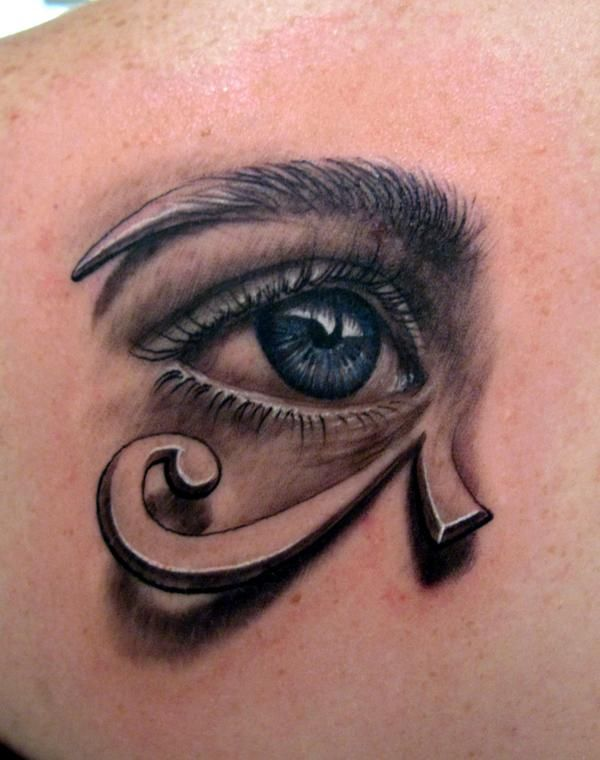 This artistic tattoo combines a realistic eye and graphic of the Eye of Horus patterns « « Ratta Tattoo